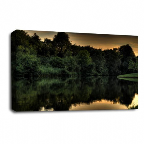 Forest Lake Canvas Art Water Reflection Picture Print